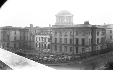 The Four Courts in the midst of the Irish Civil War - Public Domain