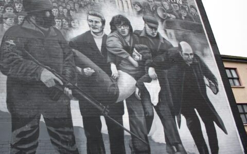 Bloody Sunday depicted on a facade