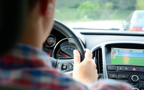 A driver and his GPS - Public Domain